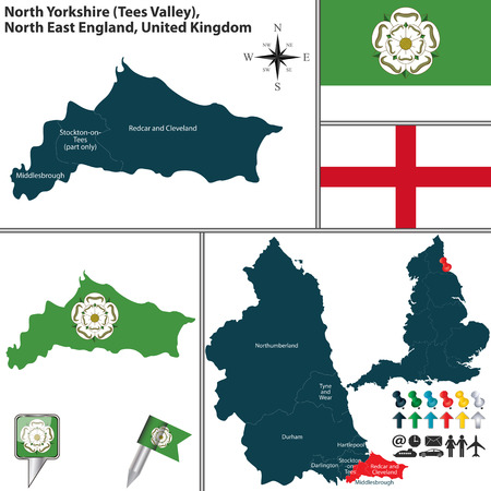 regions: Vector map of North Yorkshire in North East England, United Kingdom with regions and flags
