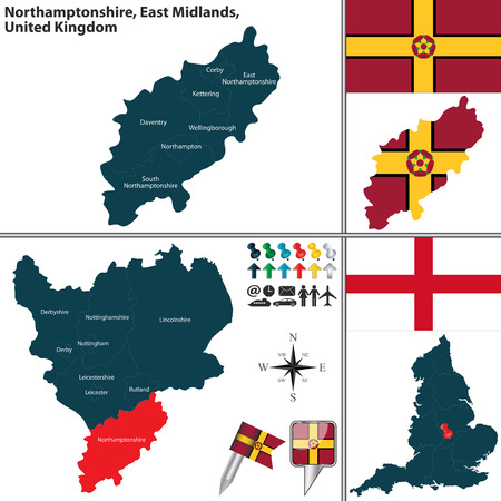 midlands: Vector map of Northamptonshire in East Midlands, United Kingdom with regions and flags