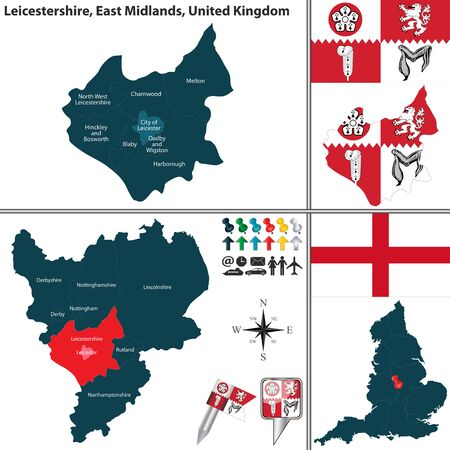 unitary: Vector map of Leicestershire in East Midlands, United Kingdom with regions and flags