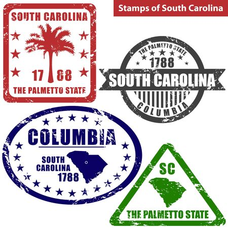 american vintage: Vector stamps of South Carolina state in United States with map and nickname - The Palmetto State