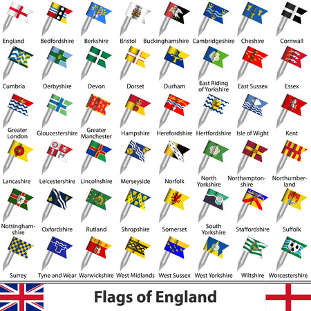 yorkshire and humber: Vector flags of England, United Kingdom on white background Illustration