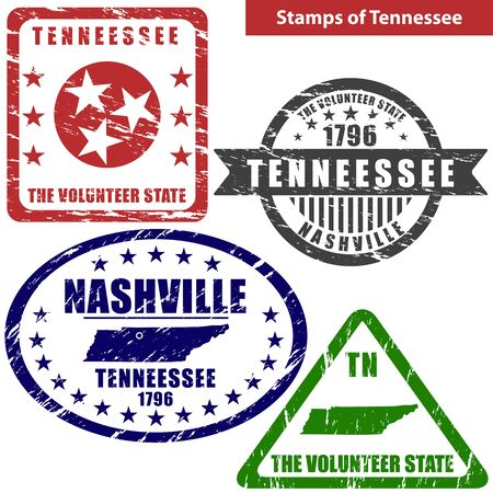 tn: Vector stamps of Tennessee state in United States with map and nickname - The Volunteer State Illustration