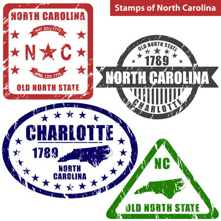 charlotte: Vector stamps of North Carolina state in United States with map and nickname - Old North State