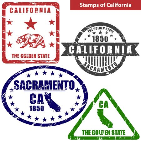 ca: Vector stamps of California state in United States with map and nickname - The Golden State