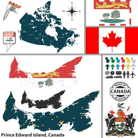 edward: Vector map of state Prince Edward Island with coat of arms and location on Canadian map Illustration