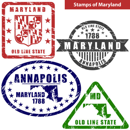 md: Vector stamps of Maryland state in United States with map and nickname - Old Line State