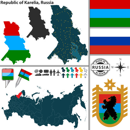 republic: Vector map of state Republic of Karelia with coat of arms and location on Russian map