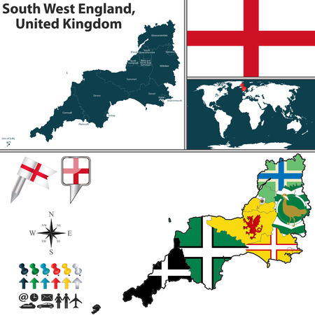 Vector map of South West England, United Kingdom with regions and flags