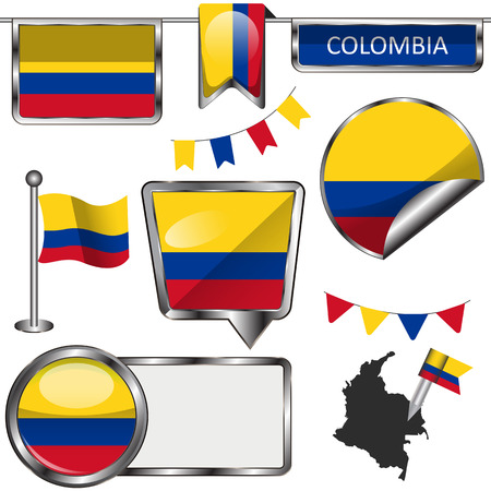 republic of colombia: Vector glossy icons of flag of Colombia on white