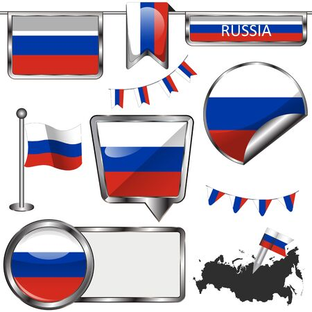 russia flag: Vector glossy icons of flag of Russia on white
