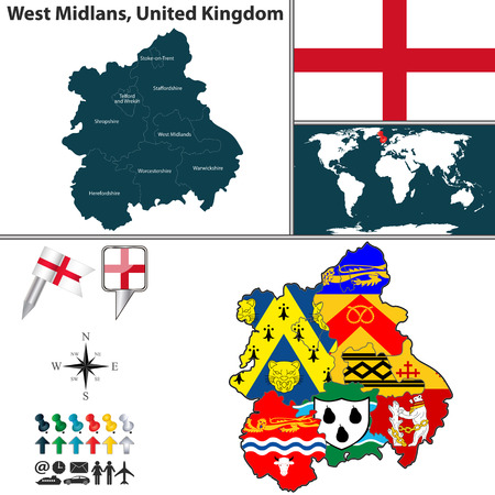 unitary: Vector map of West Midlands, United Kingdom with regions and flags