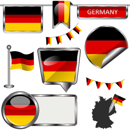 federal republic of germany: Vector glossy icons of flag of Germany on white
