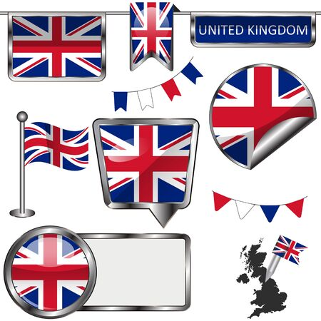 Vector glossy icons of flag of United Kingdom on white