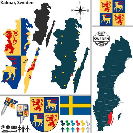 condado: Vector map of county Kalmar with coat of arms and location on Sweden map