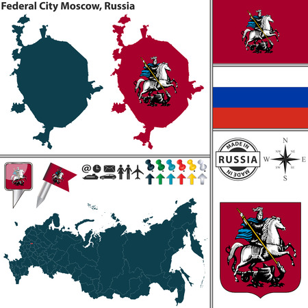 moscow city: Vector map of Federal city Moscow with coat of arms and location on Russian map