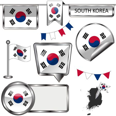 glossy icons: Vector glossy icons of flag of South Korea on white