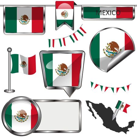glossy icons: Vector glossy icons of flag of Mexico on white Illustration