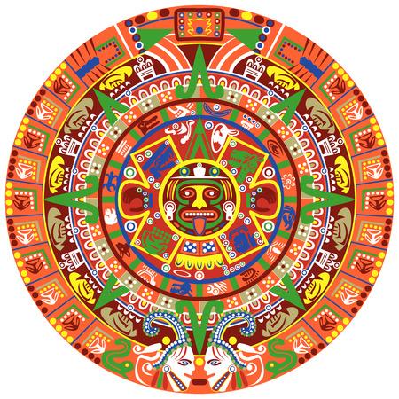 Vecteur de calendrier aztèque sur fond blanc