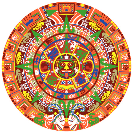 Vector of Aztec calendar on white background Stock Illustratie