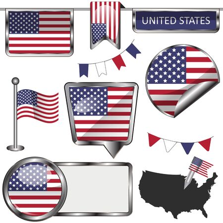 Vector glossy icons of flag of United States on white Ilustrace