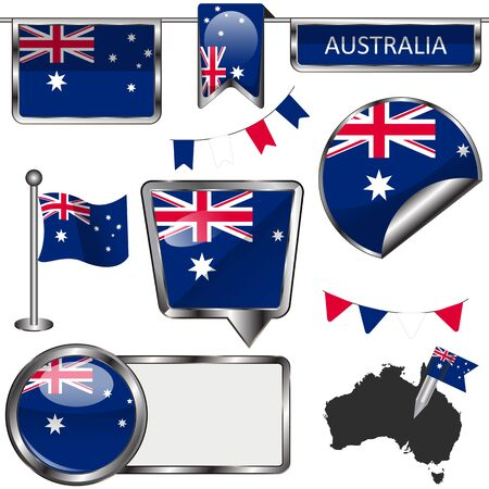 commonwealth: Vector glossy icons of flag of Australia on white Illustration