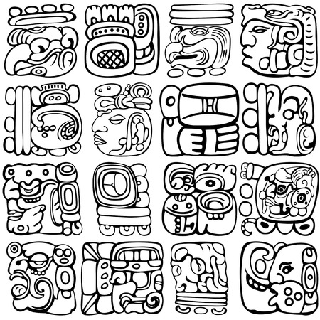 Vector set of Mayan and aztec glyphs with ancient gods and characters on white Illustration