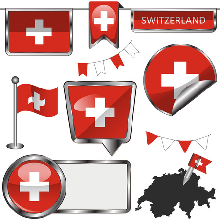 switzerland flag: Vector glossy icons of flag of Switzerland on white