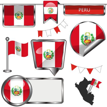 mapa del peru: Vector iconos de brillante de bandera de Perú en blanco