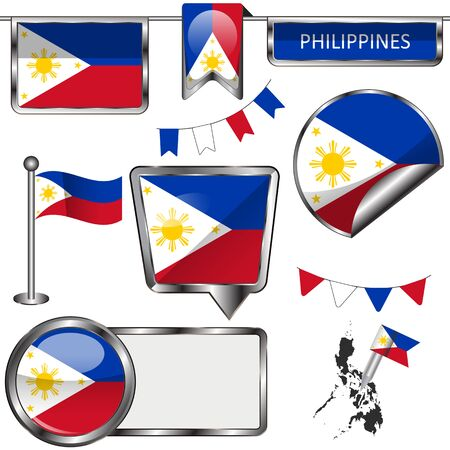 filipino: Vector glossy icons of flag of Philippines on white Illustration