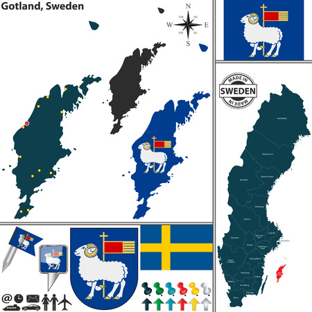 Vector map of county Gotland with coat of arms and location on Sweden map