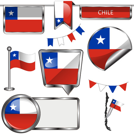 chilean: Vector glossy icons of flag of Chile on white