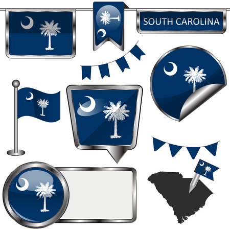 Vector glossy icons of flag of South Carolina on white Ilustrace