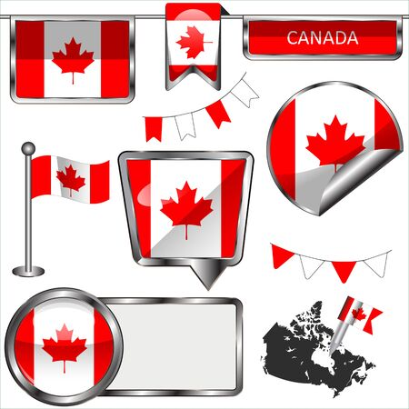 canadian flag: Vector glossy icons of flag of Canada on white
