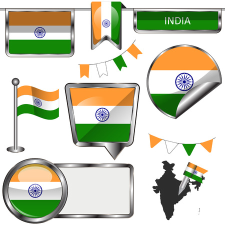glossy icons: Vector glossy icons of flag of India on white
