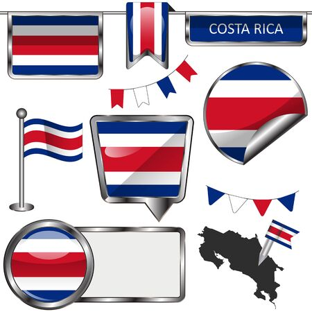costa rican flag: Vector glossy icons of flag of Costa Rica on white Illustration