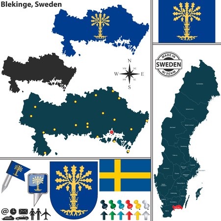 condado: Vector map of county Blekinge with coat of arms and location on Sweden map Ilustra��o