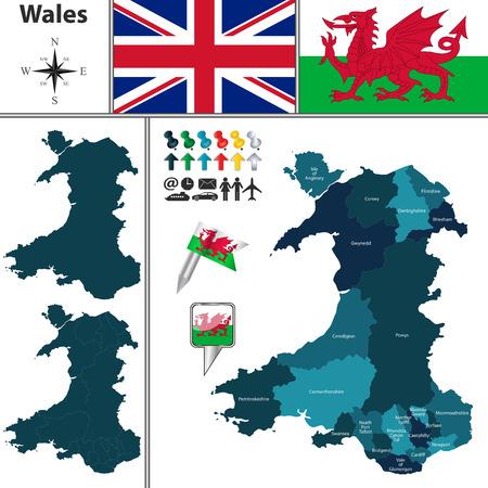 Vector kaart van Wales met hoofdsom gebieden en vlaggen