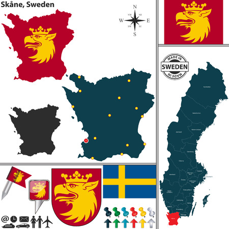 map sweden: Vector map of county Skane with coat of arms and location on Sweden map Illustration