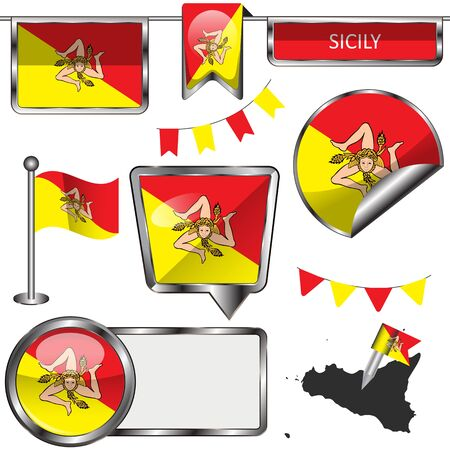 glossy icons: Vector glossy icons of flag of Sicily on white