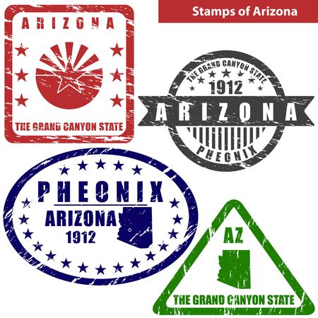 grand canyon: Vector stamps of Arizona state in United States with map and nickname - The Grand Canyon State Illustration