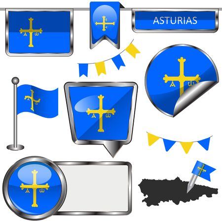 glossy icons: Vector glossy icons of flag of Asturias on white