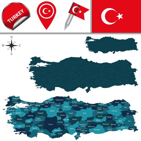 pavo: Mapa vectorial de Turquía, con divisiones con nombre y los iconos de viajes