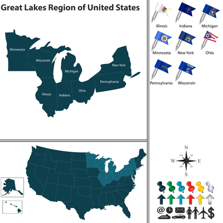 the great lakes: Vector set of Great Lakes region of United States with flags and map on white background