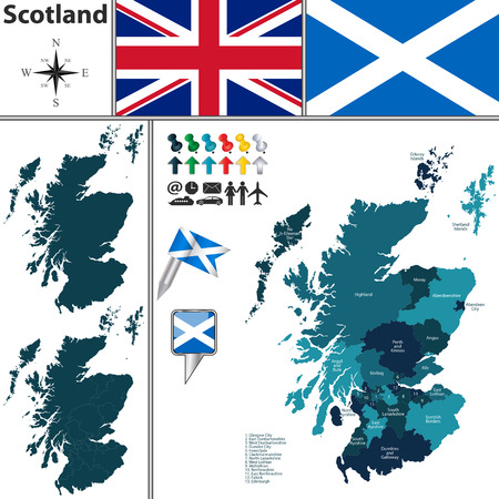 Vector map of Scotland with subdivisions and flags Stock Illustratie