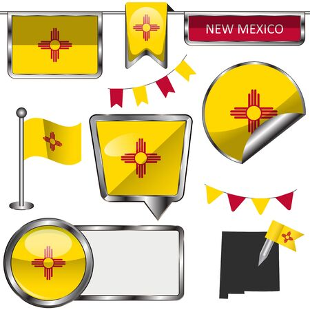 nm: Vector glossy icons of flag of New Mexico on white Illustration