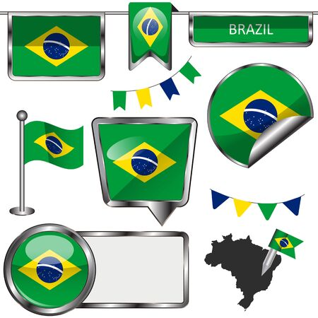 glossy icons: Vector glossy icons of flag of Brazil on white