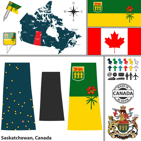 regina: Vector map of state Saskatchewan with coat of arms and location on Canadian map