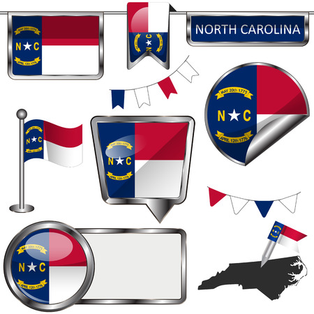 Vector glossy icons of flag of North Carolina on white