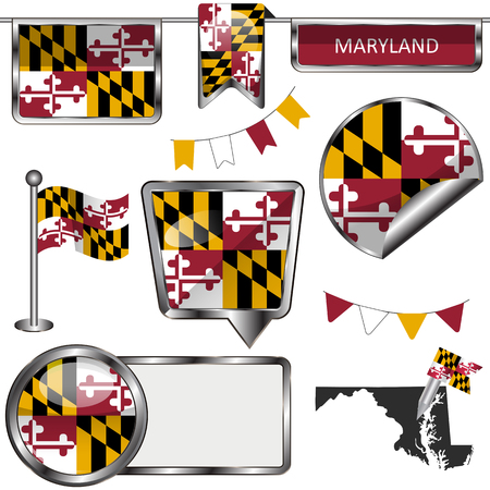 md: Vector glossy icons of flag of Maryland on white Illustration