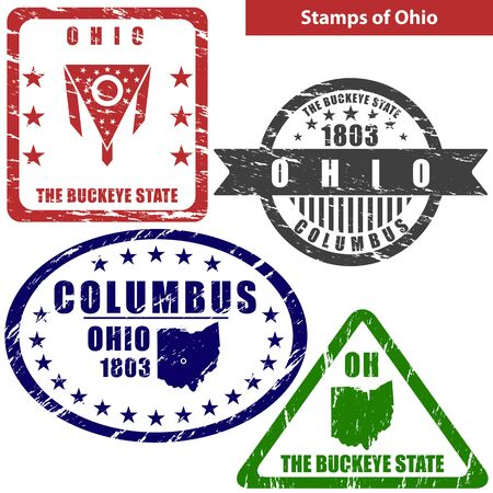 buckeye: Vector stamps of Ohio state in United States with map and nickname - The Buckeye State